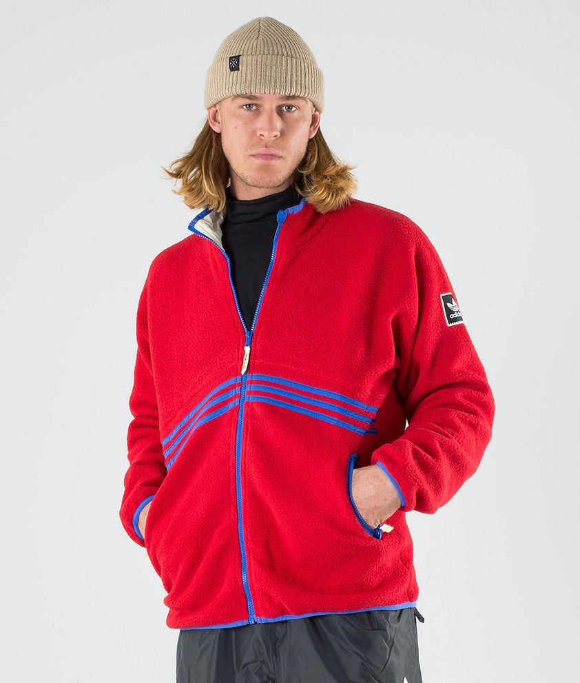 Adidas Skateboarding Sherpa Full Zip Jakke Power Red/Hi-Res Blue S18/Haze Yellow