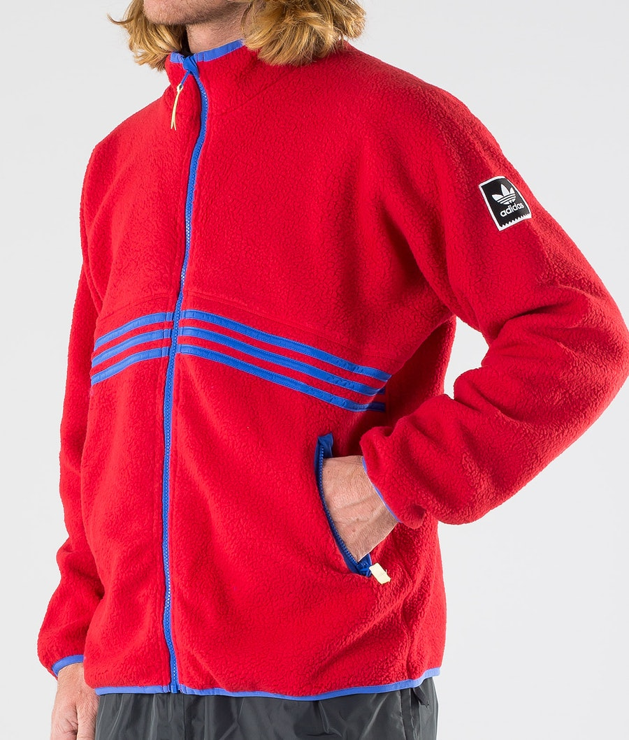 Adidas Skateboarding Sherpa Full Zip Jakke Power Red/Hi-Res Blue S18/Haze Yellow