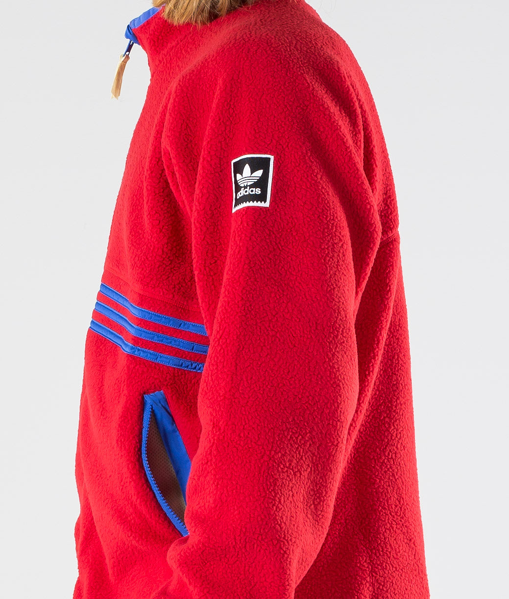 Adidas Skateboarding Sherpa Full Zip Jacka Power Red/Hi-Res Blue S18/Haze Yellow