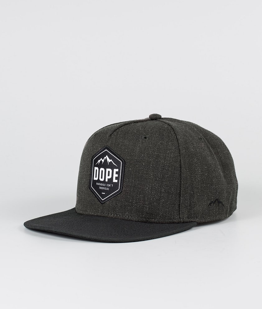 Dope Patched Caps Dark Grey Black