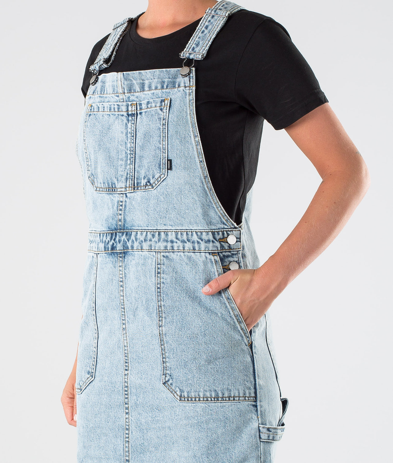 Dr Denim Hanae Pinafore Dress Kjole Downtown Blue
