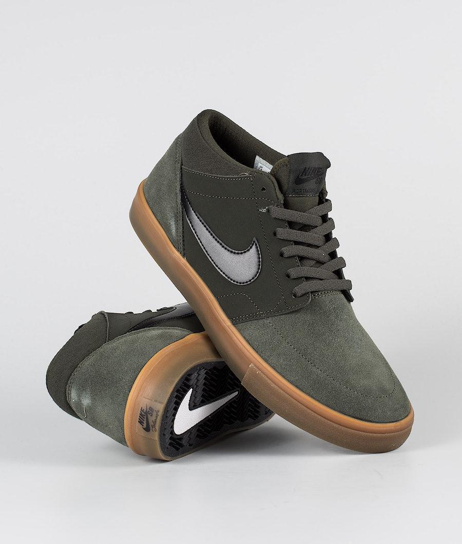 Nike Nike SB Solarsoft Portmore II Mid Sko Sequoia/Black-Gum Med Brown
