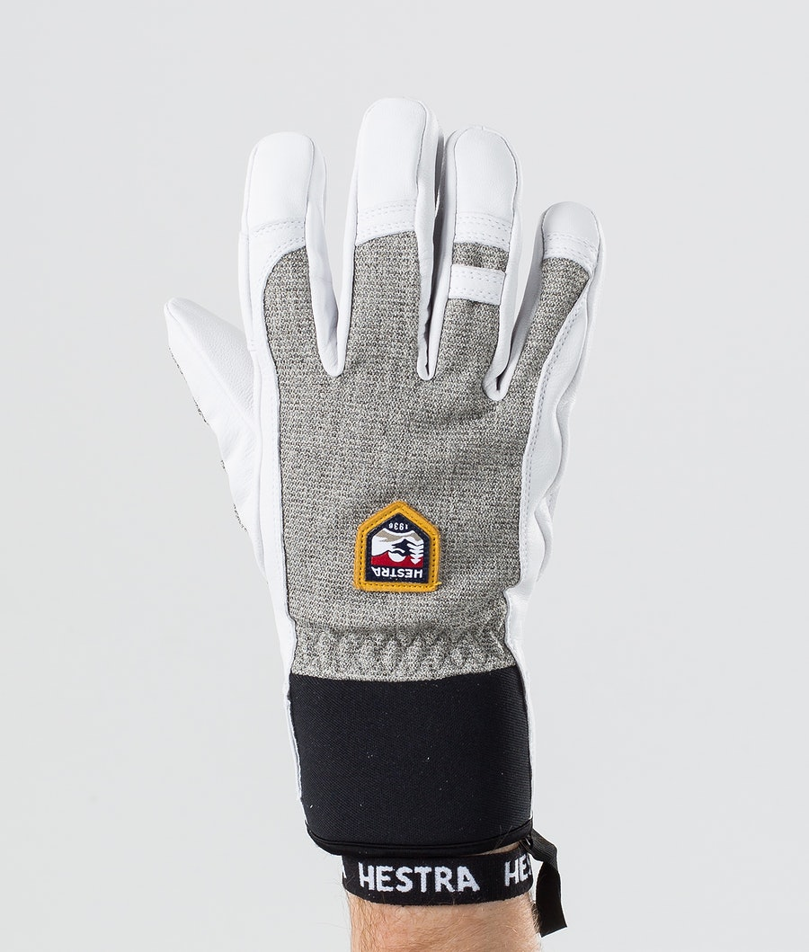 Hestra Army Leather Patrol 5 Finger Ski Gloves Light Grey