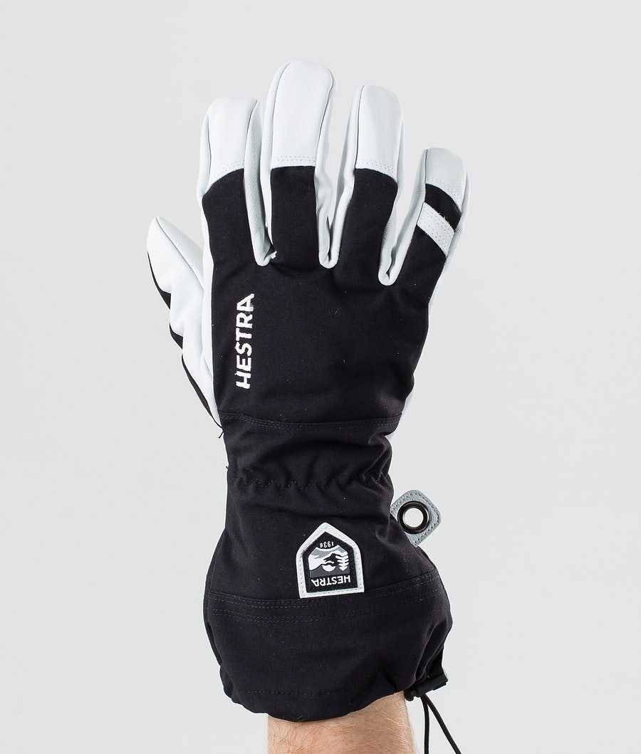 Hestra Army Leather Heli Ski 5 Finger Ski Gloves Black
