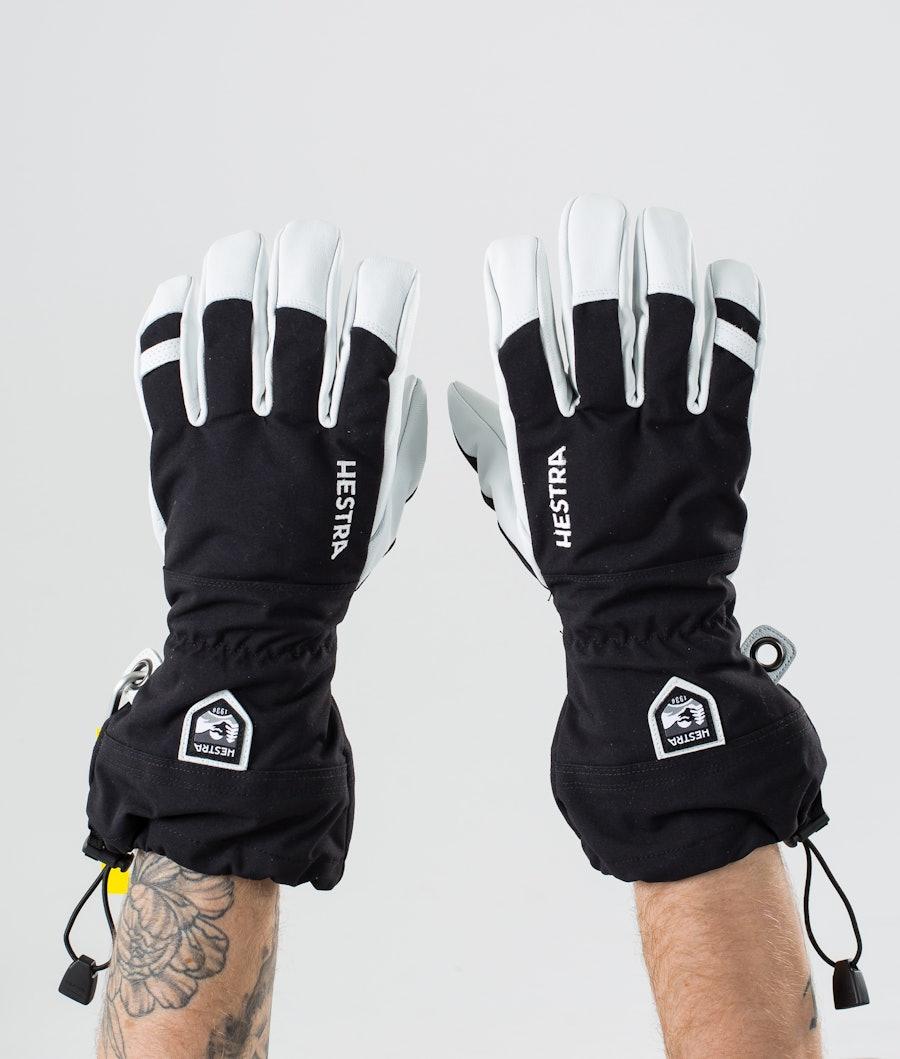 Hestra Army Leather Heli Ski 5 Finger Ski Gloves Black
