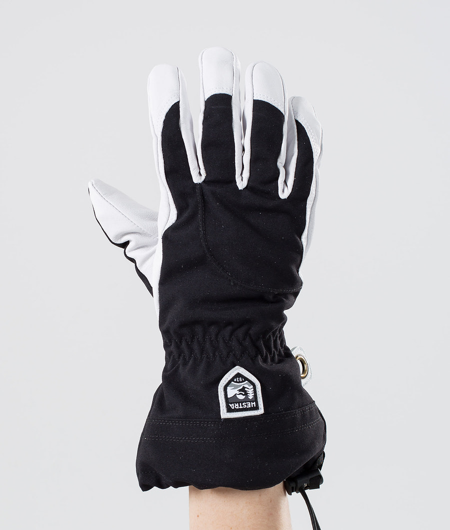 Hestra Heli Ski Female 5-Finger Ski Gloves Black/Offwhite