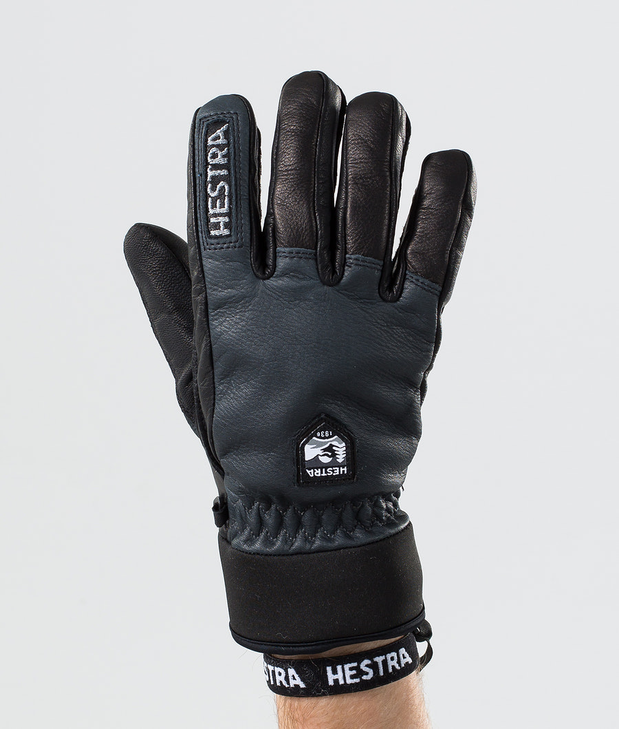 Hestra Army Leather Wool Terry 5-Finger Ski Gloves Grey/Black