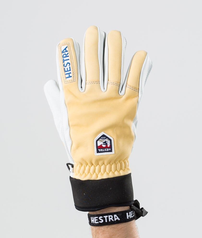 Hestra Army Leather Wool Terry 5-Finger Skihansker Brown/Grey