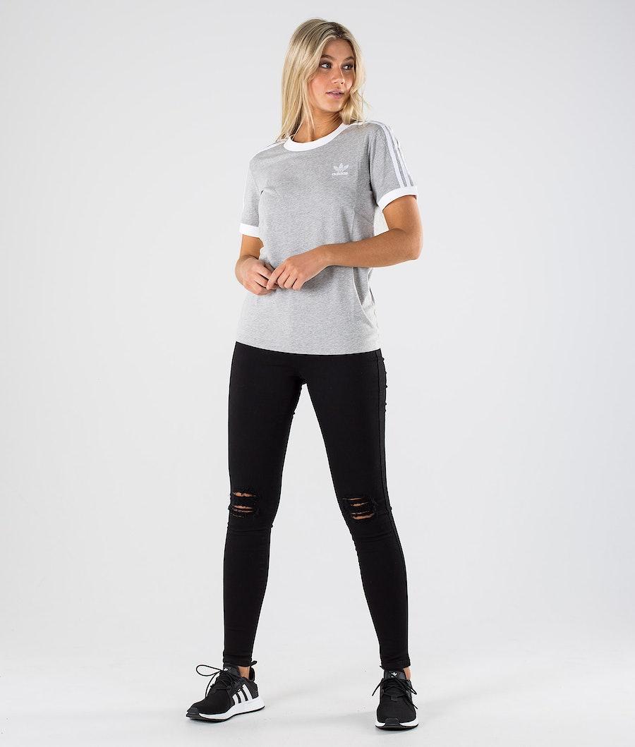 Adidas Originals 3 Stripe Tee T-Shirt Damen Medium Grey Heather