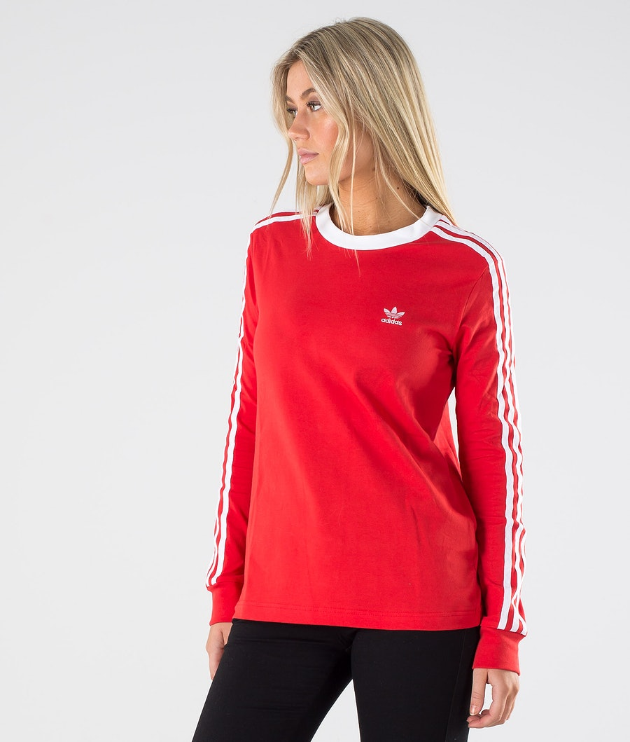 Adidas Originals 3 Stripe Longsleeve             T-paita Lush Red/White