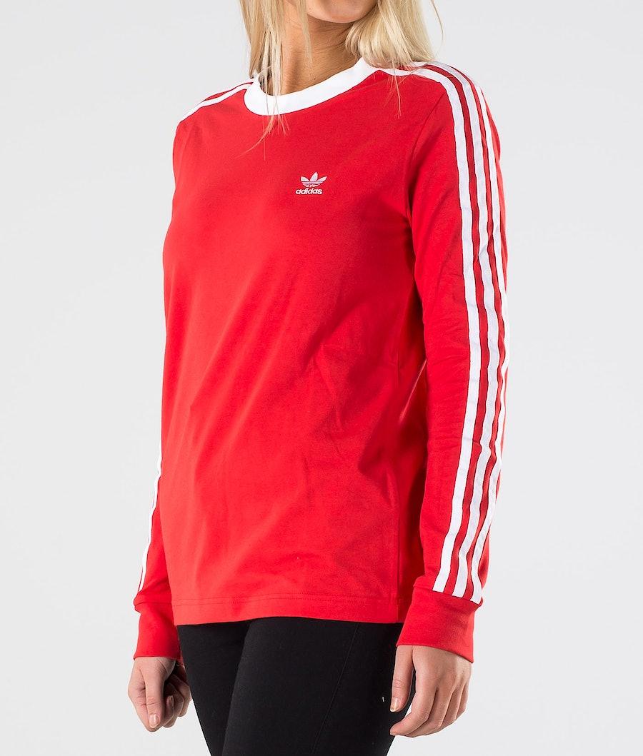 Adidas Originals 3 Stripe Longsleeve       T-shirt Dame Lush Red/White