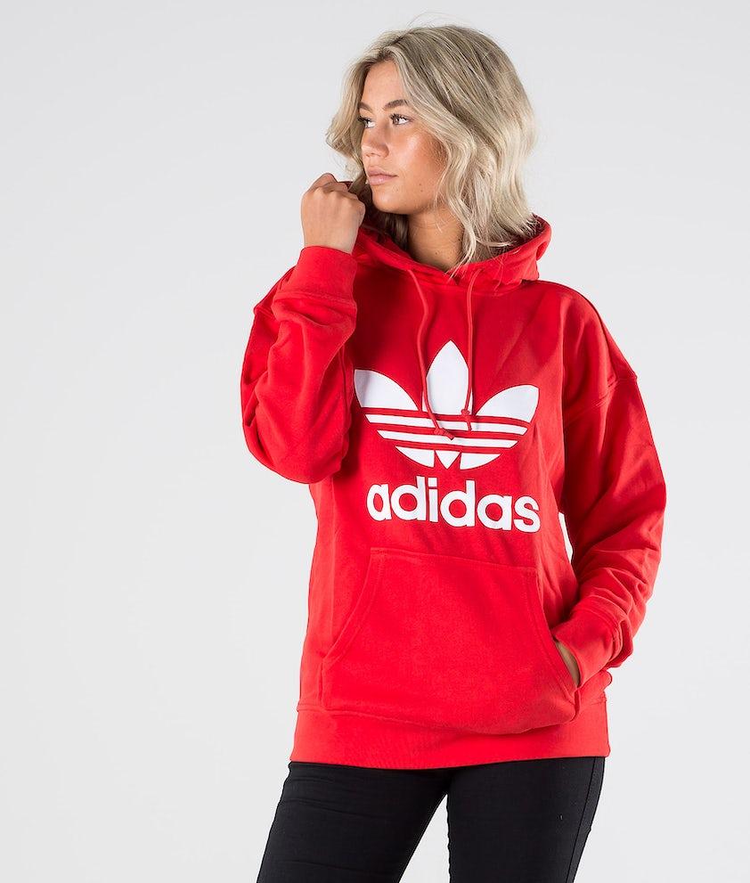 Adidas Originals Trefoil Hoodie      Hood Lush Red/White