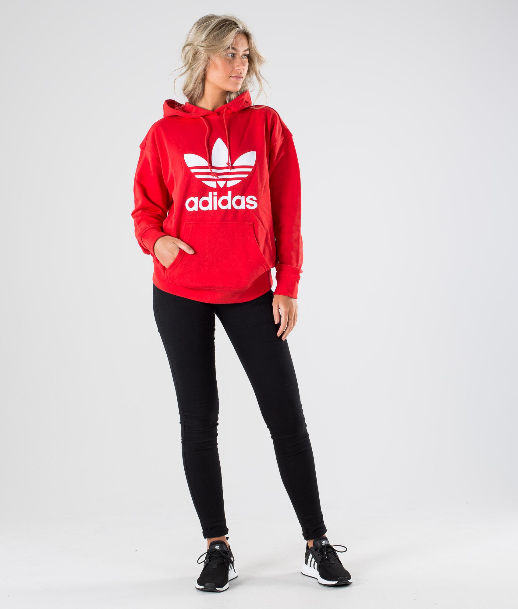Adidas Originals Trefoil Hoodie Hoodie Lush RedWhite