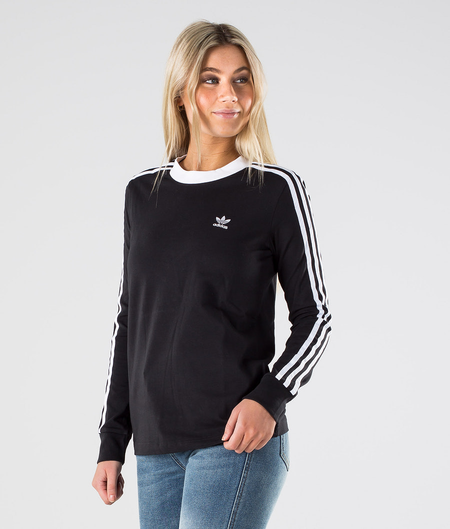 Adidas Originals 3 Stripe Longsleeve             T-Shirt Black/White