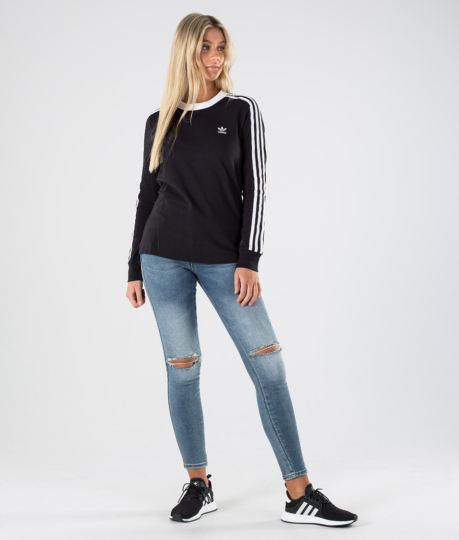 Adidas Originals 3 Stripes Longsleeve Dame Black/White