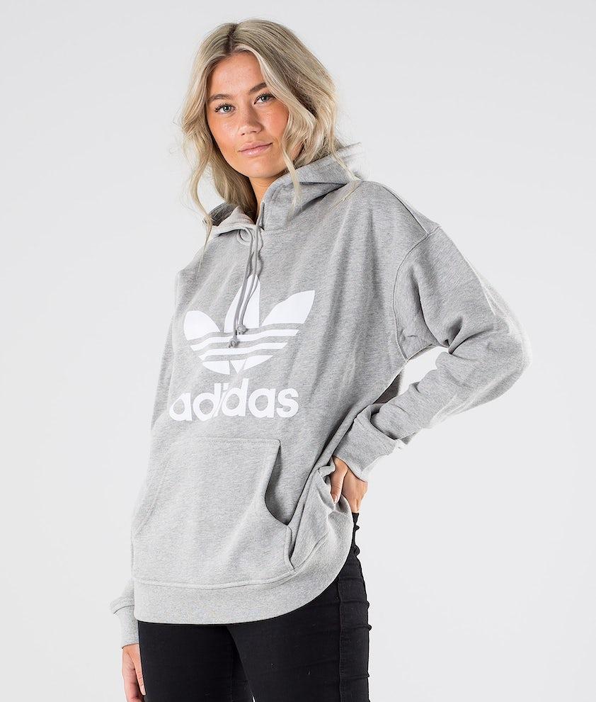 Adidas Originals Trefoil Hoodie      Hoodie Medium Grey Heather/White