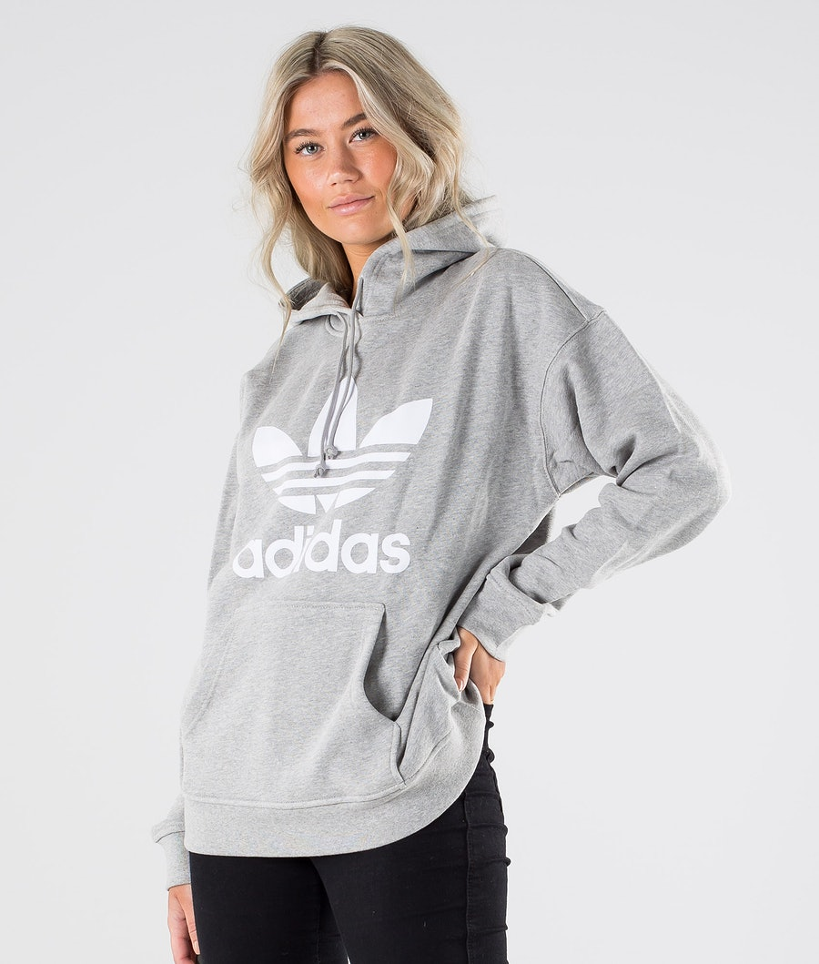 Adidas Originals Trefoil Hoodie      Hood Medium Grey Heather/White