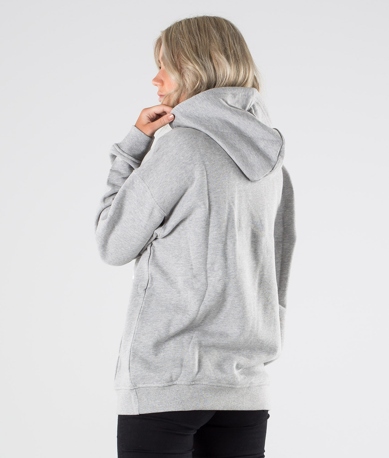 Adidas Originals Trefoil Hoodie      Hood Medium Grey Heather/White