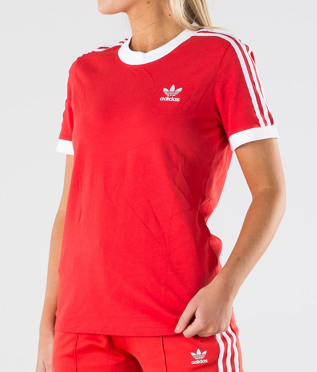 Guia solar erótico  Adidas Originals 3 Stripe Tee T-shirt Lush Red/White - Ridestore.com