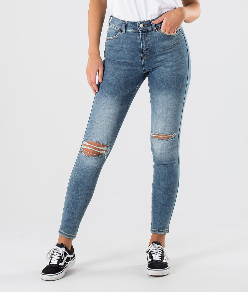 Dr Denim Lexy Bukser Westcoast Blue Ripped