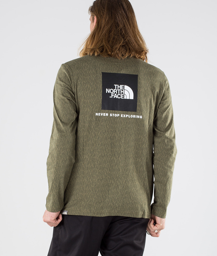 The North Face Red Box Longsleeve Burnt Olive Green Rain Camo
