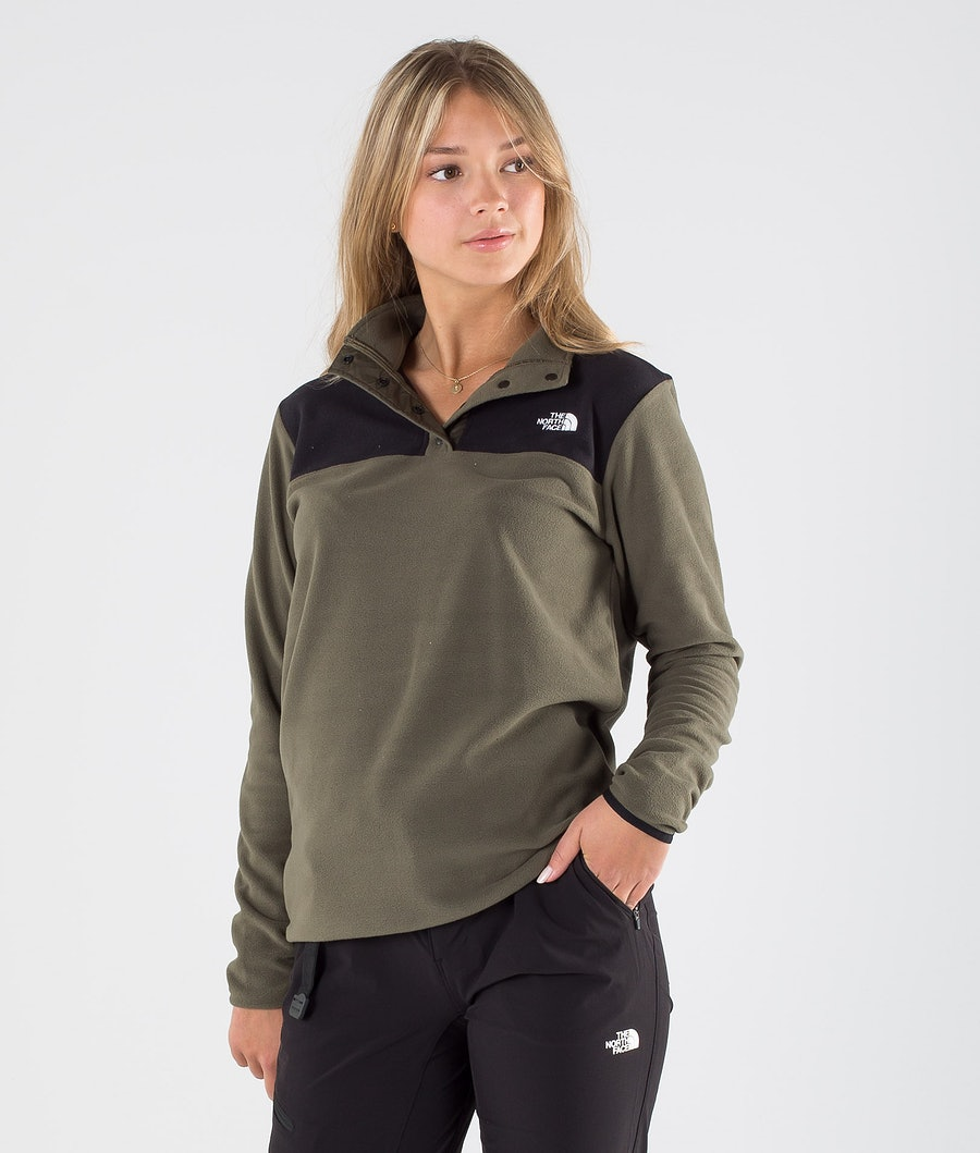 The North Face Tka Glacier Snap-Neck Felpa con cappuccio New Taupe Green/Tnf Black