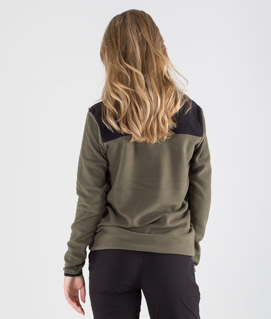 The North Face Tka Glacier Snap-Neck Fleecepullover Damen New Taupe Green/Tnf Black