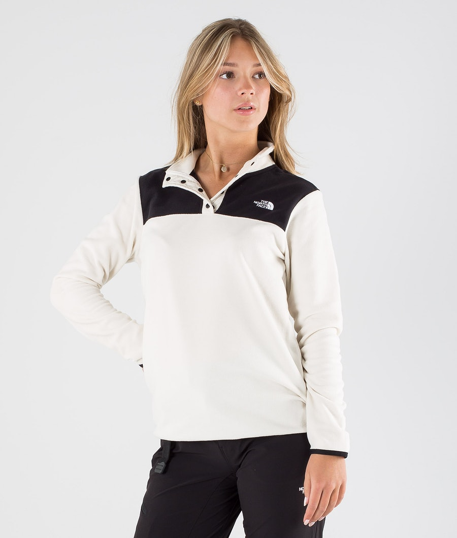 The North Face Tka Glacier Snap-Neck Felpa con cappuccio Vintage White/Tnf Black