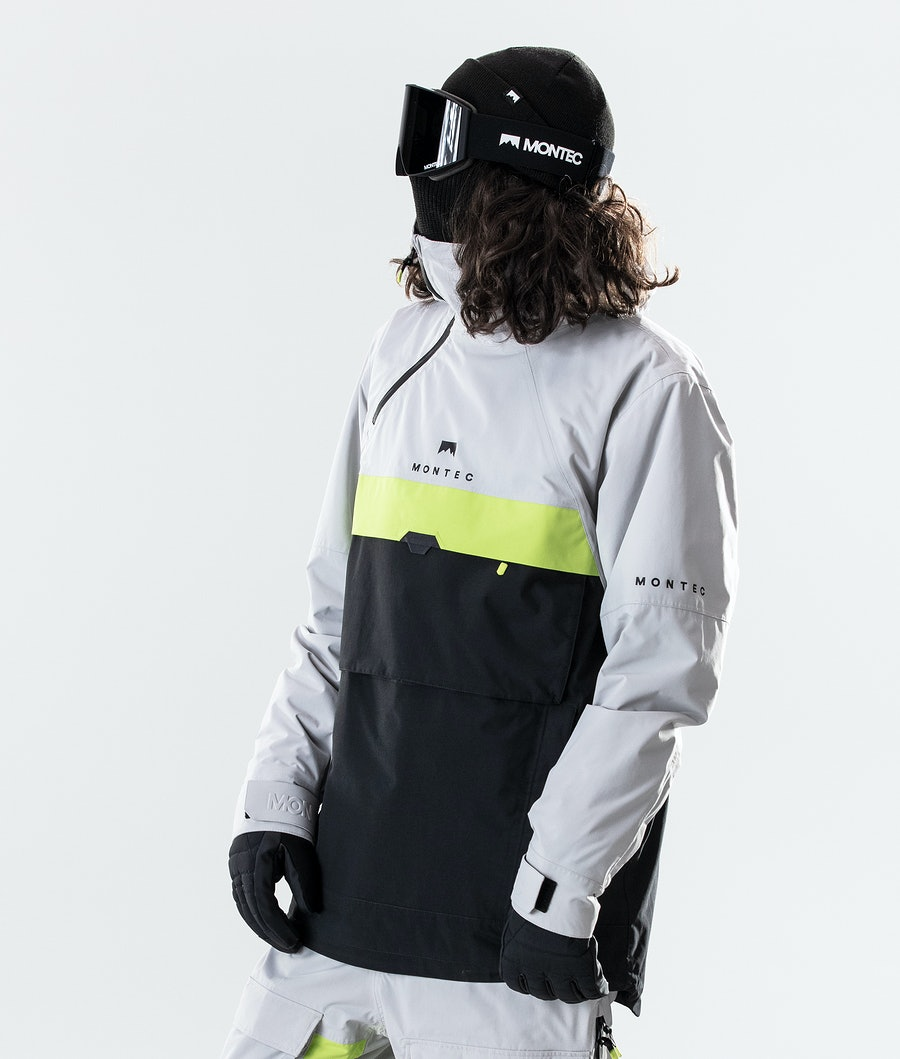 Montec Dune Snowboard Jacket Light Grey/Neon Yellow/Black