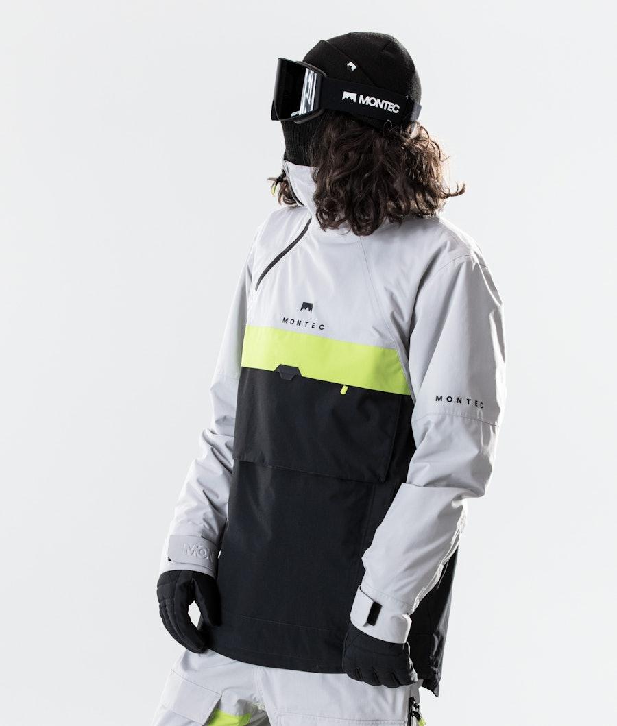 Montec Dune Veste de Snowboard Light Grey/Neon Yellow/Black