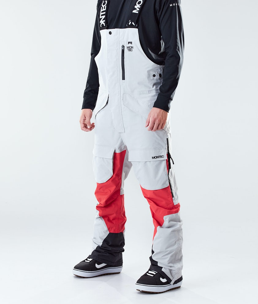 Montec Fawk Snowboard Pants Light Grey/Red
