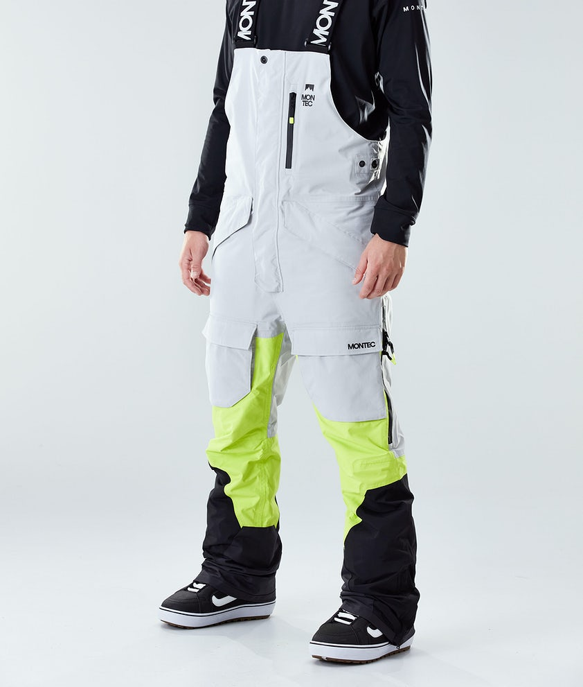 Montec Fawk Snowboardbyxa Light Grey/Neon Yellow/Black