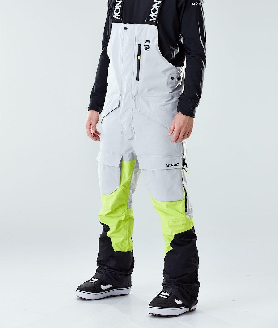 Montec Fawk Pantalon de Snowboard Light Grey/Neon Yellow/Black