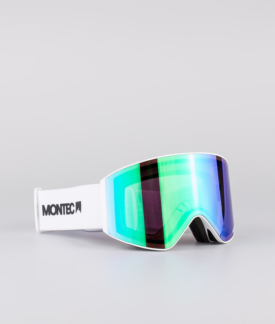 Montec Scope Medium Ski Goggle White W/White Tourmaline Green