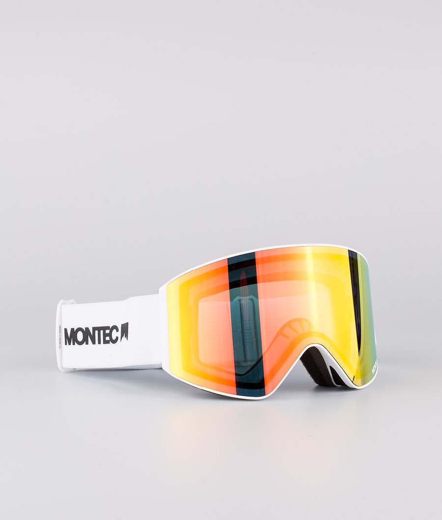 Montec Scope Medium Skibrille White W/White Ruby Red