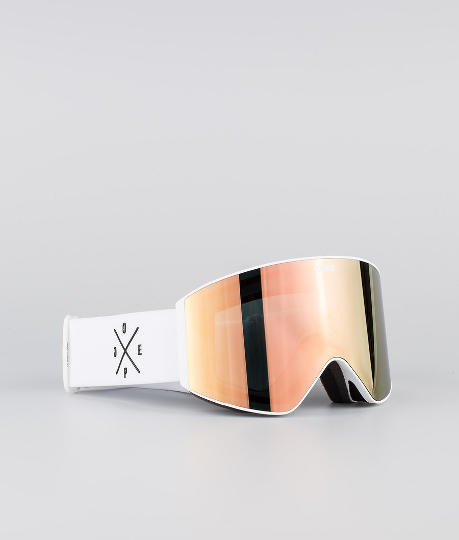 Dope Sight Medium Ski Goggle White W/White Champagne