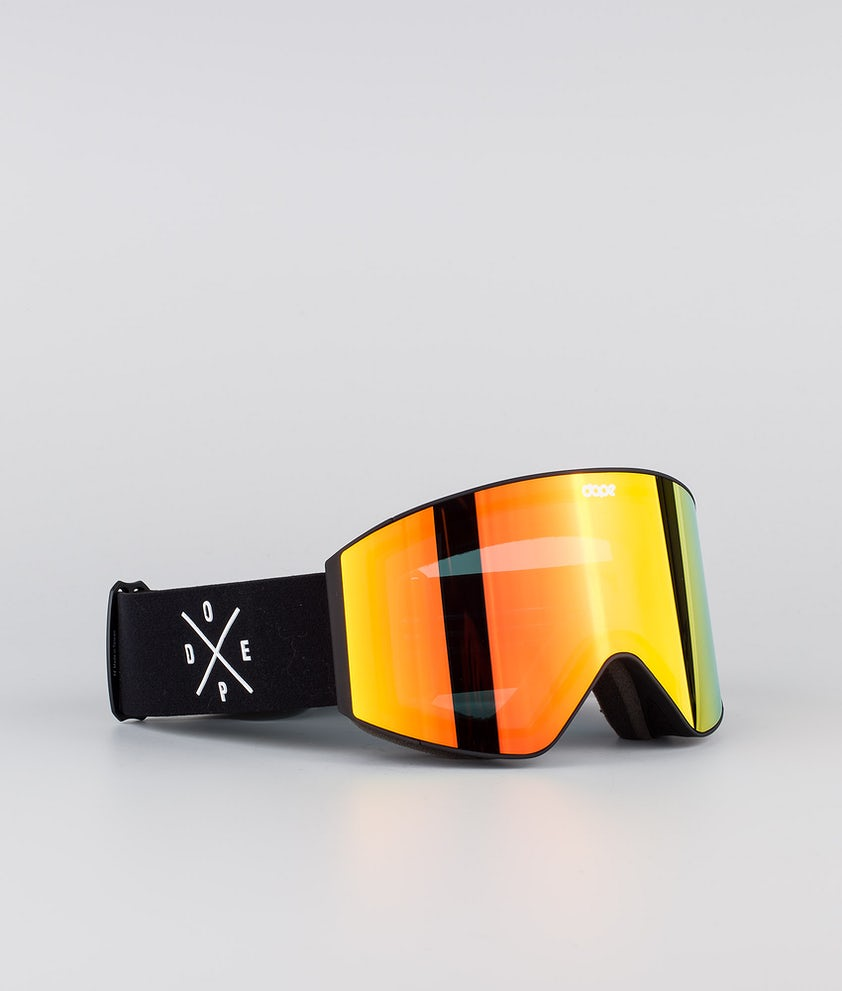Dope Sight Ski Goggle Black W/Black Red Mirror