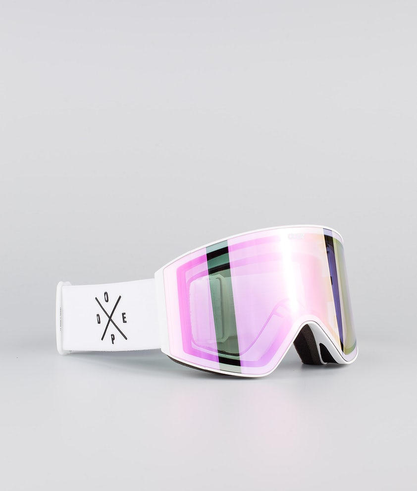 Dope Sight Medium Ski Goggle White W/White Pink Mirror