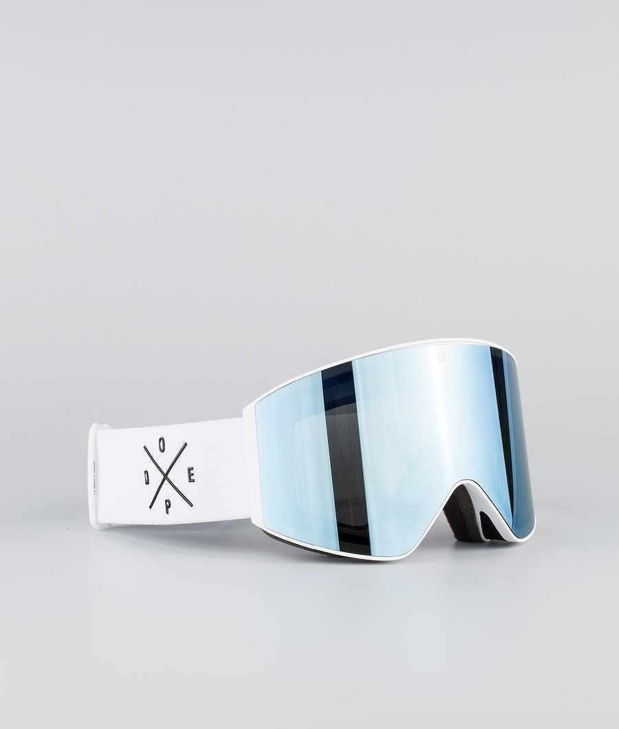 Dope Sight Medium Skidglasögon White W/White Blue Mirror