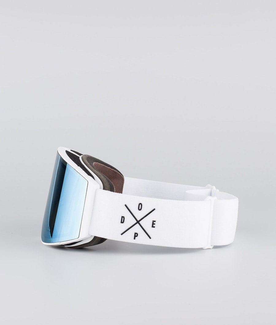 Dope Sight Medium Ski Goggle White W/White Blue Mirror
