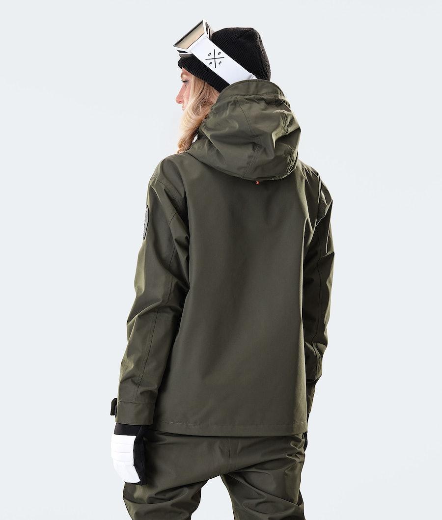 Dope Blizzard PO W Women's Snowboard Jacket Olive Green