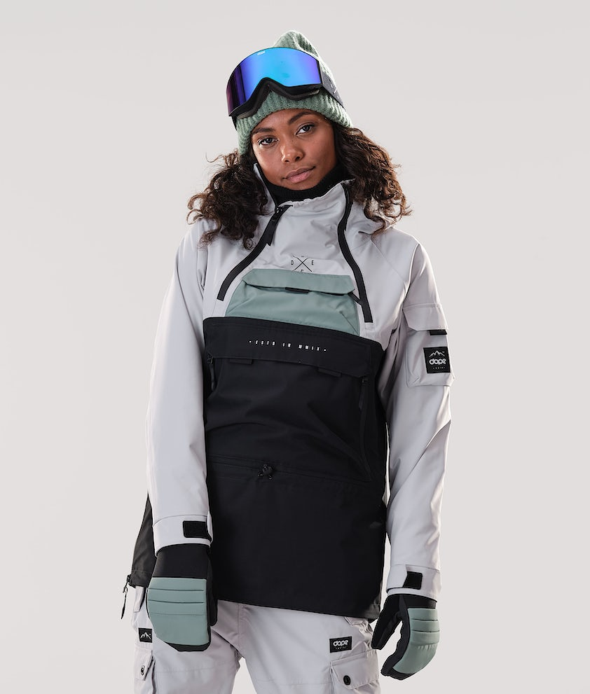 Dope Akin W Snowboard Jacket Light Grey/Faded Green/Black