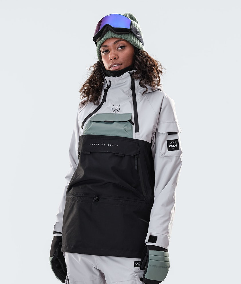 Dope Akin W Snowboardjacke Light Grey/Faded Green/Black
