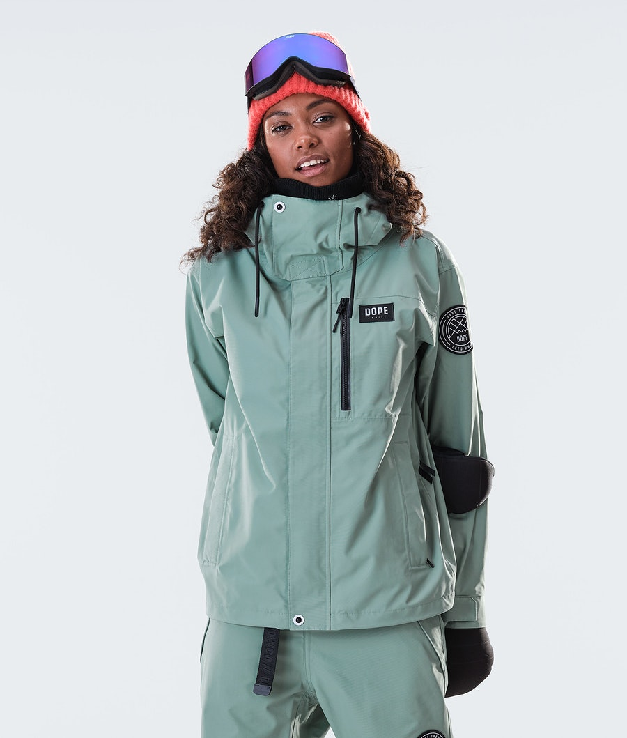 Dope Blizzard FZ W Women's Snowboard Jacket Faded Green