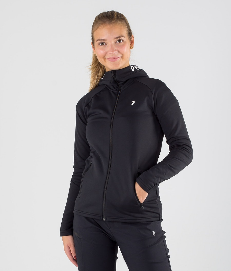 Peak Performance Rider Zip Felpa con Cappuccio Black