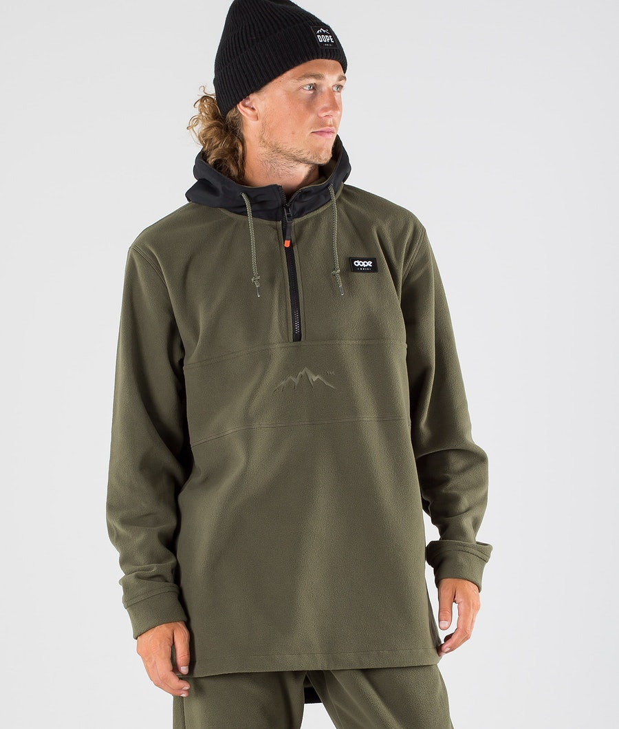Dope Loyd PO Fleece Hood Black/Olive Green