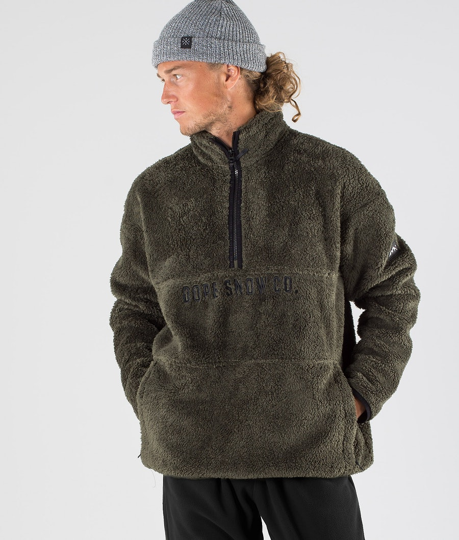 Dope Pile Fleece Trui Olive green