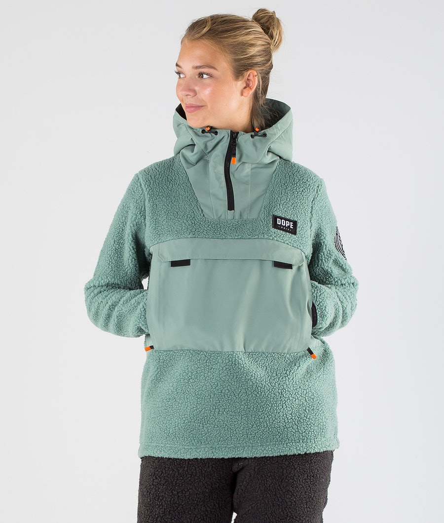 Dope Oi W Fleece Hood Faded Green