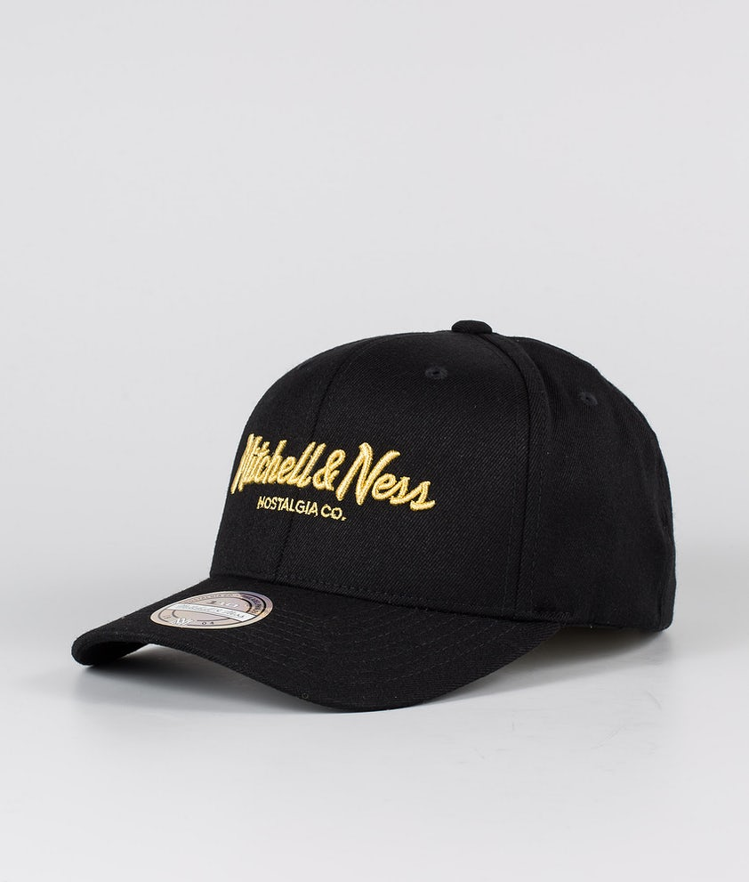 Mitchell and Ness Pinscript 110 Snapback Caps Black/Gold