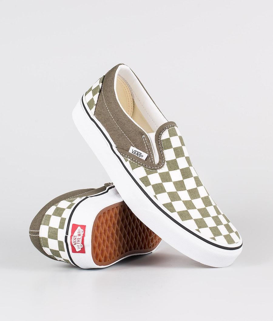Vans Classic Slip-On Shoes (Checkerboard)Grape Leaf/True white